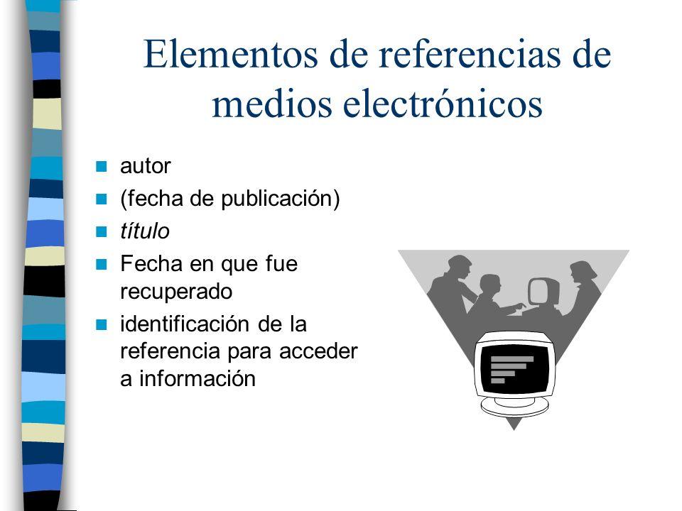 Elementos de referencias de medios electrónicos autor (fecha de publicación) título Fecha en que fue recuperado identificación de la referencia para acceder a información