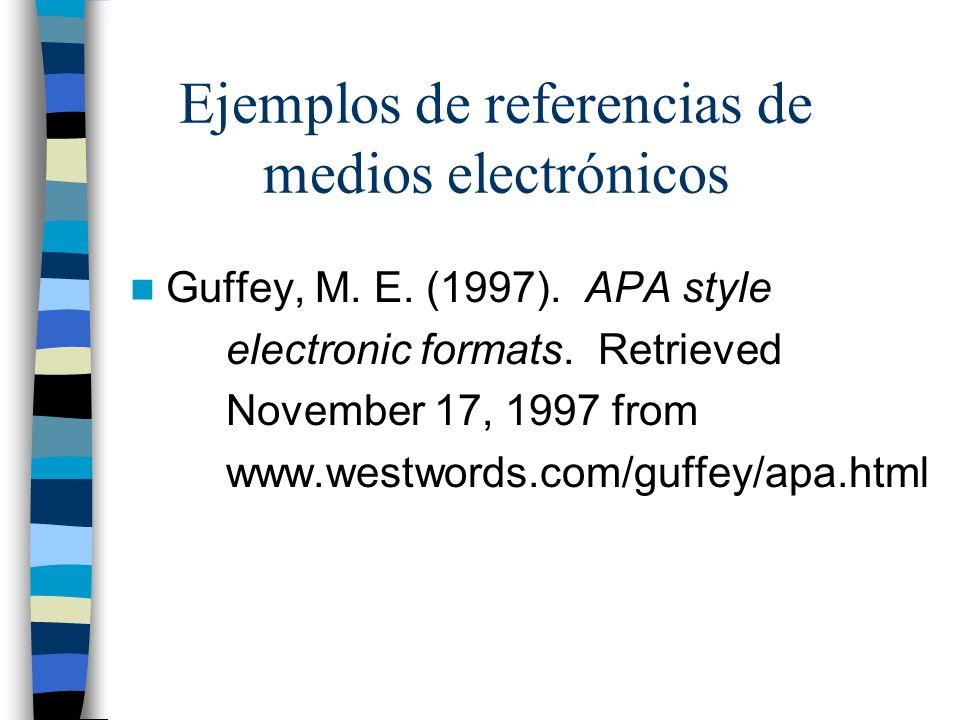 Ejemplos de referencias de medios electrónicos Guffey, M. E. (1997). APA style electronic formats. Retrieved November 17, 1997 from www.westwords.com/