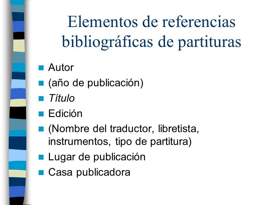 Autor (año de publicación) Título Edición (Nombre del traductor, libretista, instrumentos, tipo de partitura) Lugar de publicación Casa publicadora El