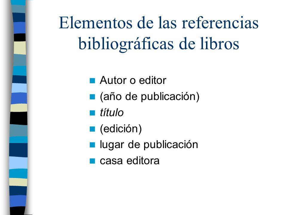 Elementos de las referencias bibliográficas de libros Autor o editor (año de publicación) título (edición) lugar de publicación casa editora