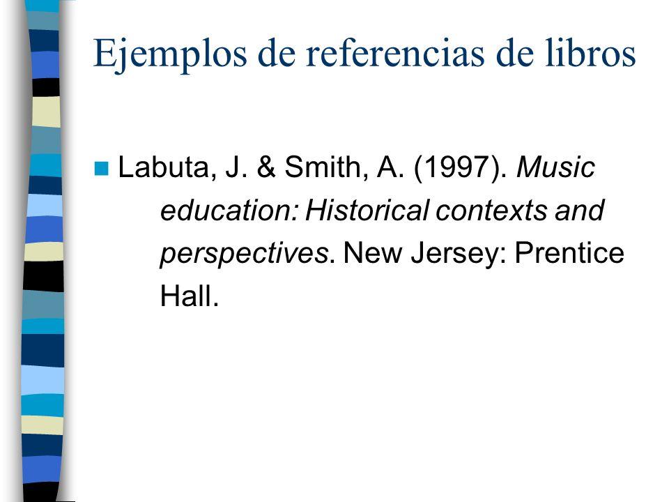 Ejemplos de referencias de libros Labuta, J.& Smith, A.
