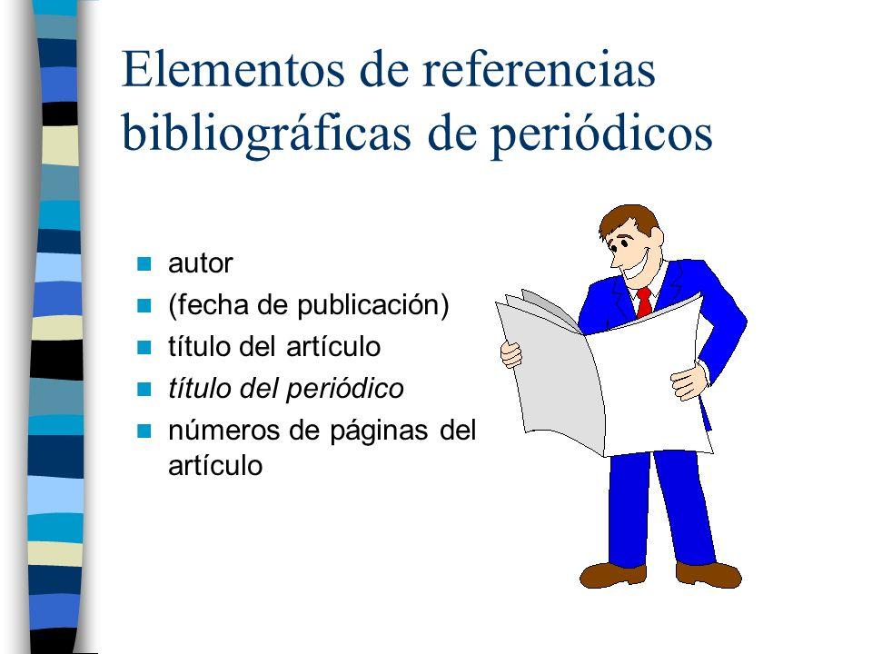 Elementos de referencias bibliográficas de periódicos autor (fecha de publicación) título del artículo título del periódico números de páginas del artículo