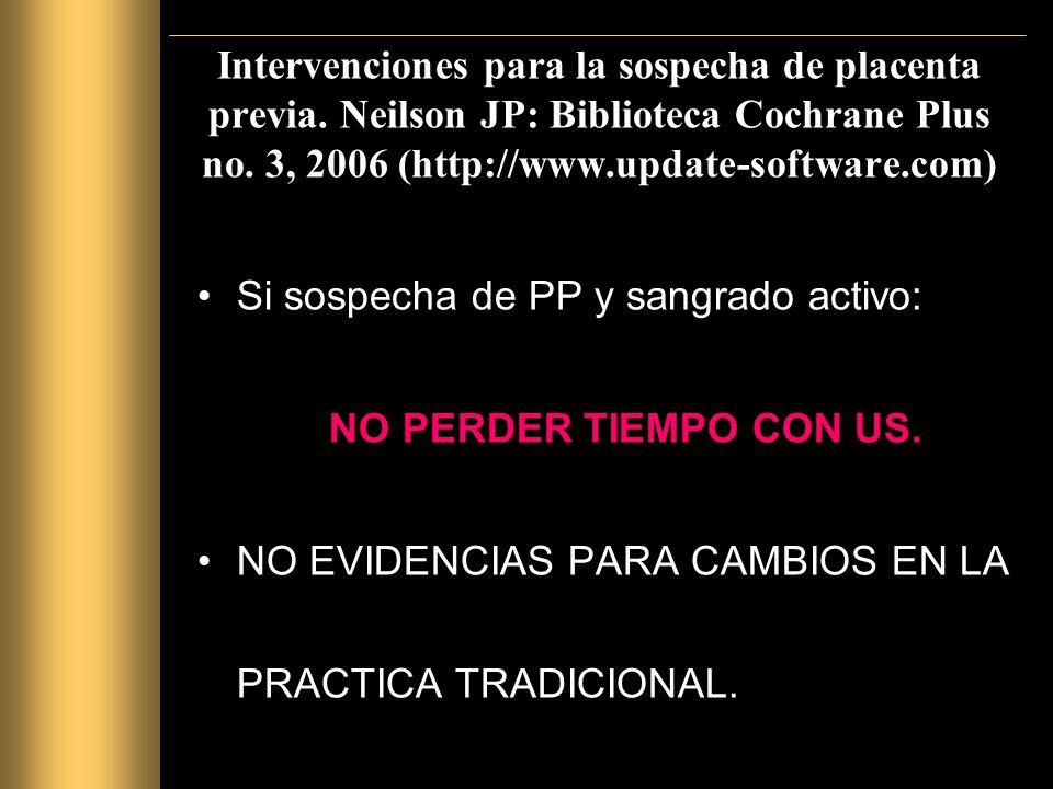 Intervenciones para la sospecha de placenta previa.