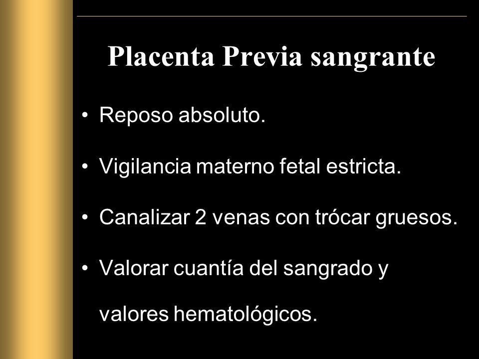 Placenta Previa sangrante Reposo absoluto.Vigilancia materno fetal estricta.