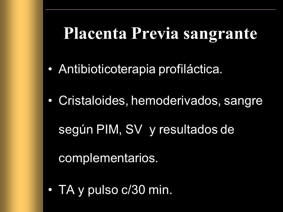 Placenta Previa sangrante Antibioticoterapia profiláctica.