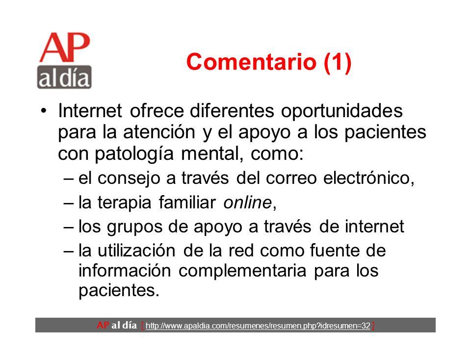 AP al día [ http://www.apaldia.com/resumenes/resumen.php?idresumen=32 ] Conclusiones Los programas de tratamiento de la depresión vía internet son efi
