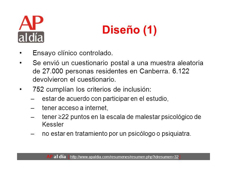 AP al día [ http://www.apaldia.com/resumenes/resumen.php?idresumen=32 ] Objetivo Evaluar la eficacia de dos intervenciones a través de internet en pac