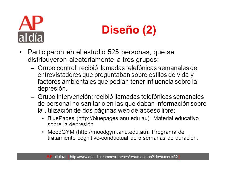 AP al día [ http://www.apaldia.com/resumenes/resumen.php?idresumen=32 ] Diseño (1) Ensayo clínico controlado. Se envió un cuestionario postal a una mu