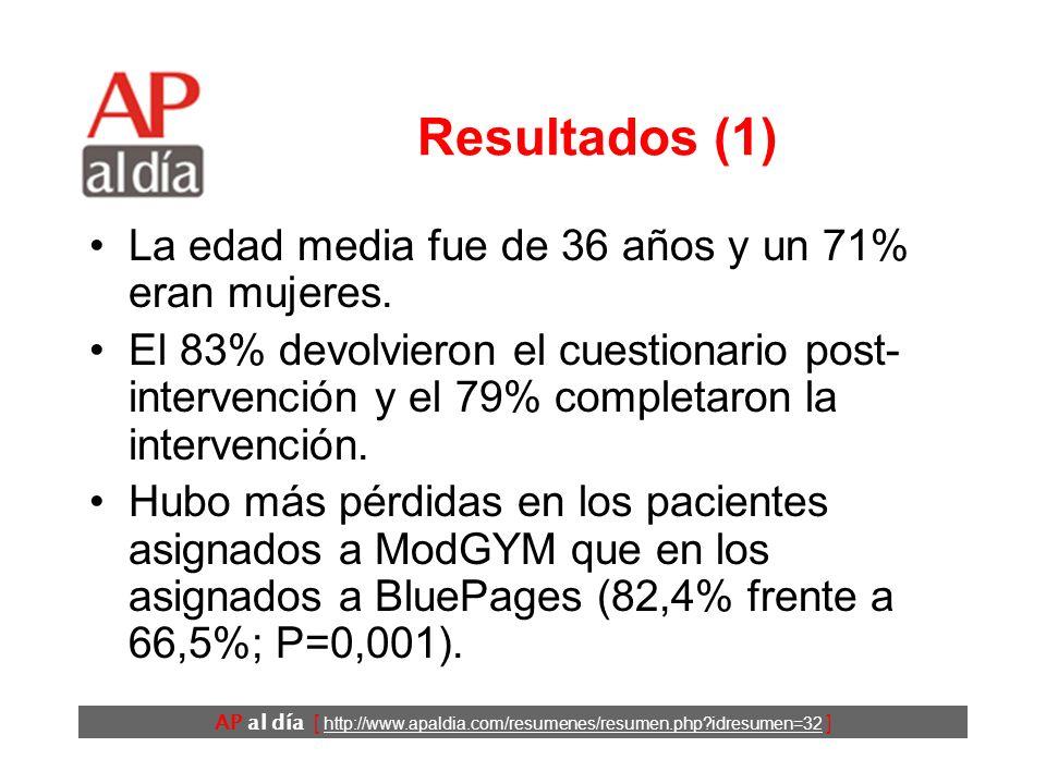 AP al día [ http://www.apaldia.com/resumenes/resumen.php?idresumen=32 ] Diseño (3) La principal medida de resultado fue la escala de depresión del Cen