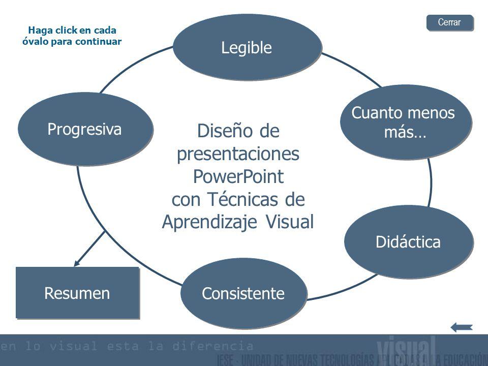 Diseño de presentaciones PowerPoint con Técnicas de Aprendizaje Visual Cuanto menos más… Cuanto menos más… Didáctica Legible Haga click en cada óvalo para continuar Progresiva Consistente Resumen Cerrar