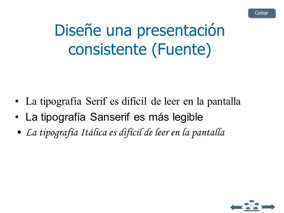 Serif Z Sanserif Z Diseñe una presentación consistente (Fuente) ConfusoClaro Cerrar