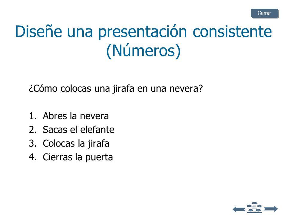 Diseñe una presentación consistente (Números) Utilice números para hacer listas con secuencia Por ejemplo: ¿Cómo colocas un elefante en una nevera? 1.