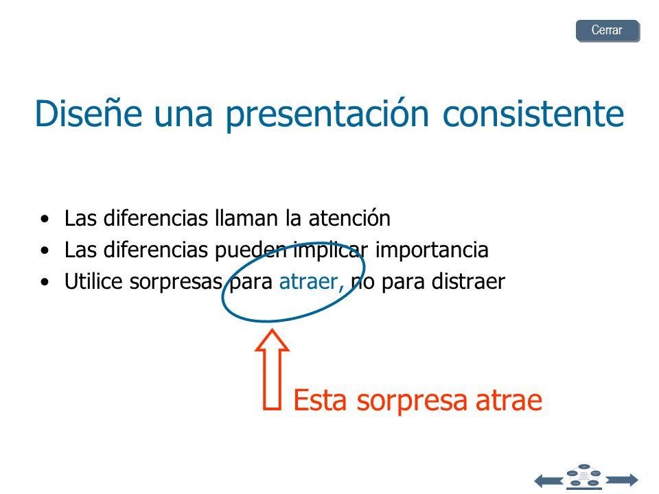 Diseñe una presentación consistente atención Las diferencias llaman la atención Las diferencias pueden implicarimportancia sorpresasatraer,Utilice sor