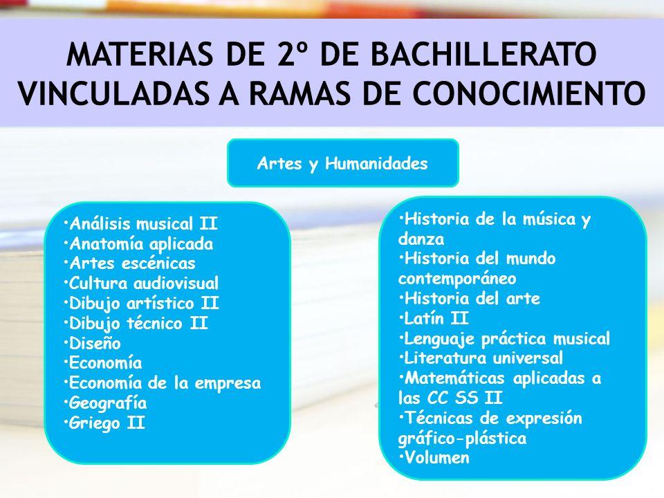 Artes y Humanidades MATERIAS DE 2º DE BACHILLERATO VINCULADAS A RAMAS DE CONOCIMIENTO Análisis musical II Anatomía aplicada Artes escénicas Cultura au