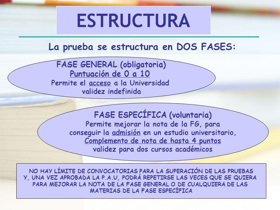 La prueba se estructura en DOS FASES: FASE GENERAL (obligatoria) Puntuación de 0 a 10 Permite el acceso a la Universidad validez indefinida FASE ESPEC