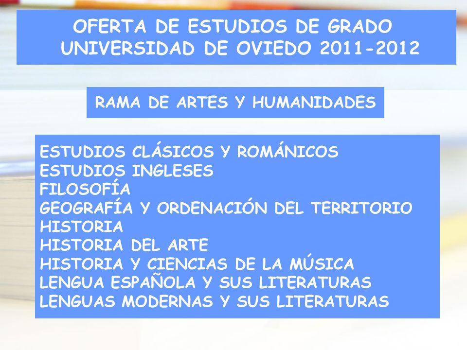 RAMA DE ARTES Y HUMANIDADES ESTUDIOS CLÁSICOS Y ROMÁNICOS ESTUDIOS INGLESES FILOSOFÍA GEOGRAFÍA Y ORDENACIÓN DEL TERRITORIO HISTORIA HISTORIA DEL ARTE
