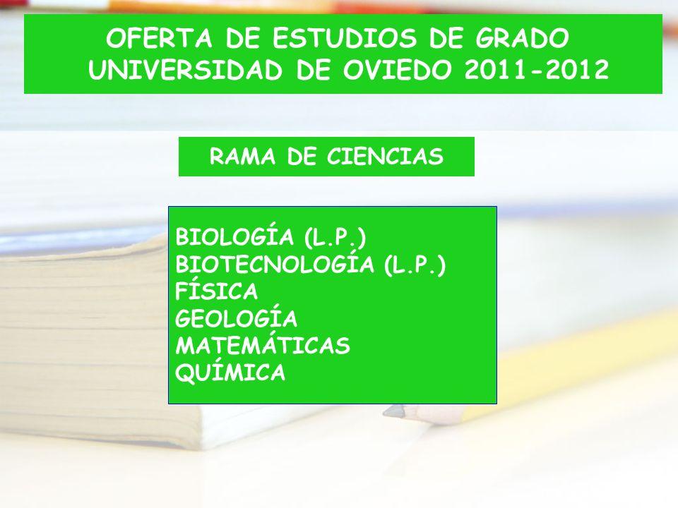 RAMA DE CIENCIAS BIOLOGÍA (L.P.) BIOTECNOLOGÍA (L.P.) FÍSICA GEOLOGÍA MATEMÁTICAS QUÍMICA OFERTA DE ESTUDIOS DE GRADO UNIVERSIDAD DE OVIEDO 2011-2012