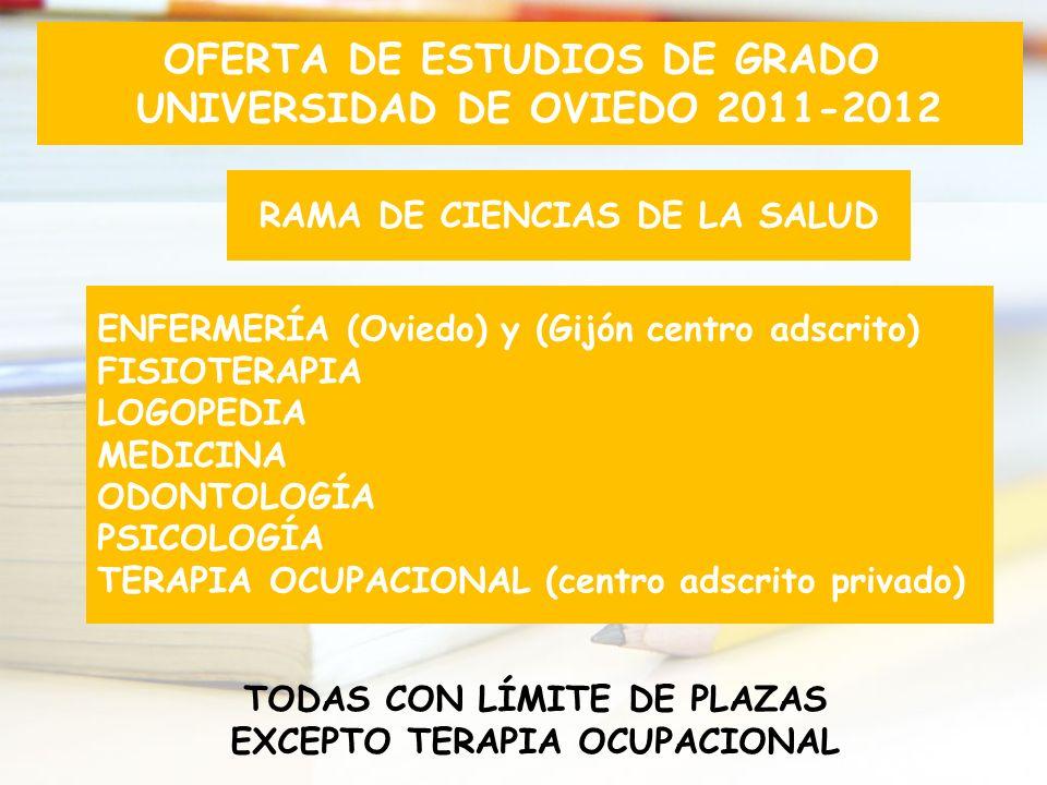 RAMA DE CIENCIAS DE LA SALUD ENFERMERÍA (Oviedo) y (Gijón centro adscrito) FISIOTERAPIA LOGOPEDIA MEDICINA ODONTOLOGÍA PSICOLOGÍA TERAPIA OCUPACIONAL