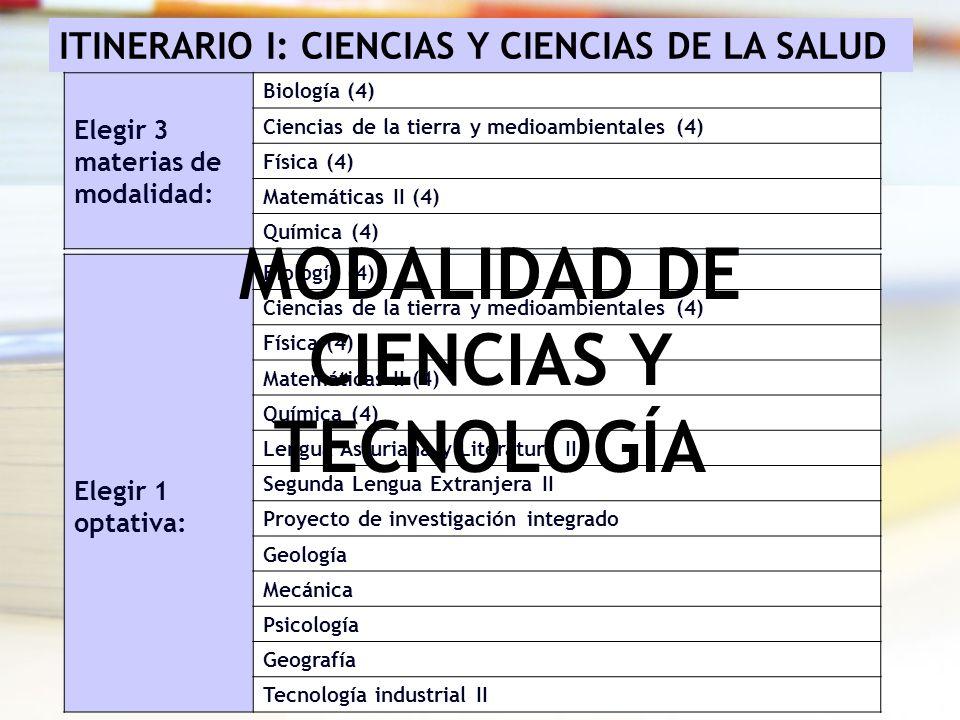 ITINERARIO I: CIENCIAS Y CIENCIAS DE LA SALUD Elegir 3 materias de modalidad: Biología (4) Ciencias de la tierra y medioambientales (4) Física (4) Mat
