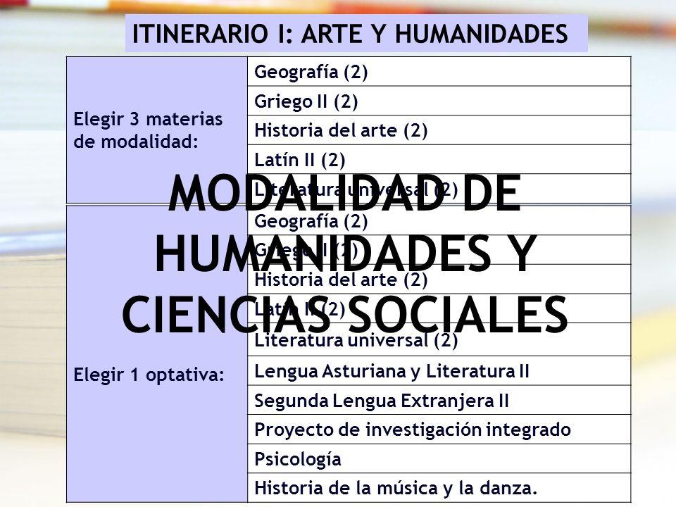 Elegir 3 materias de modalidad: Geografía (2) Griego II (2) Historia del arte (2) Latín II (2) Literatura universal (2) Elegir 1 optativa: Geografía (