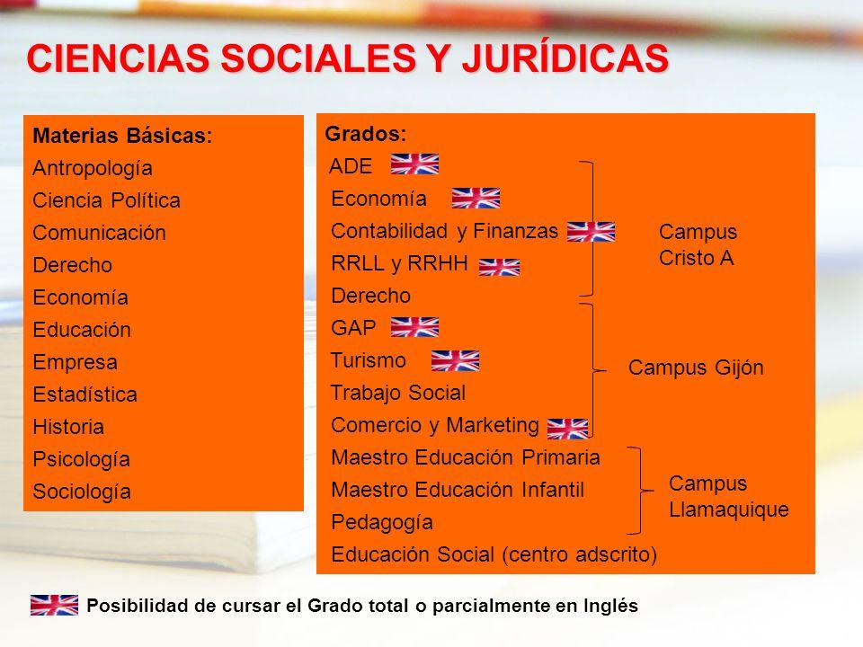 Materias Básicas: Antropología Ciencia Política Comunicación Derecho Economía Educación Empresa Estadística Historia Psicología Sociología CIENCIAS SO