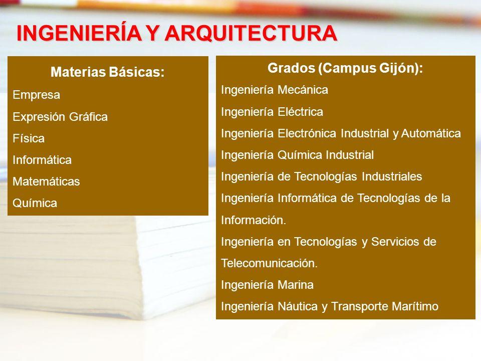 Materias Básicas: Empresa Expresión Gráfica Física Informática Matemáticas Química INGENIERÍA Y ARQUITECTURA Grados (Campus Gijón): Ingeniería Mecánic