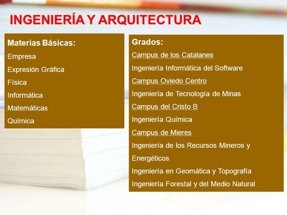 Materias Básicas: Empresa Expresión Gráfica Física Informática Matemáticas Química INGENIERÍA Y ARQUITECTURA Grados: Campus de los Catalanes Ingenierí