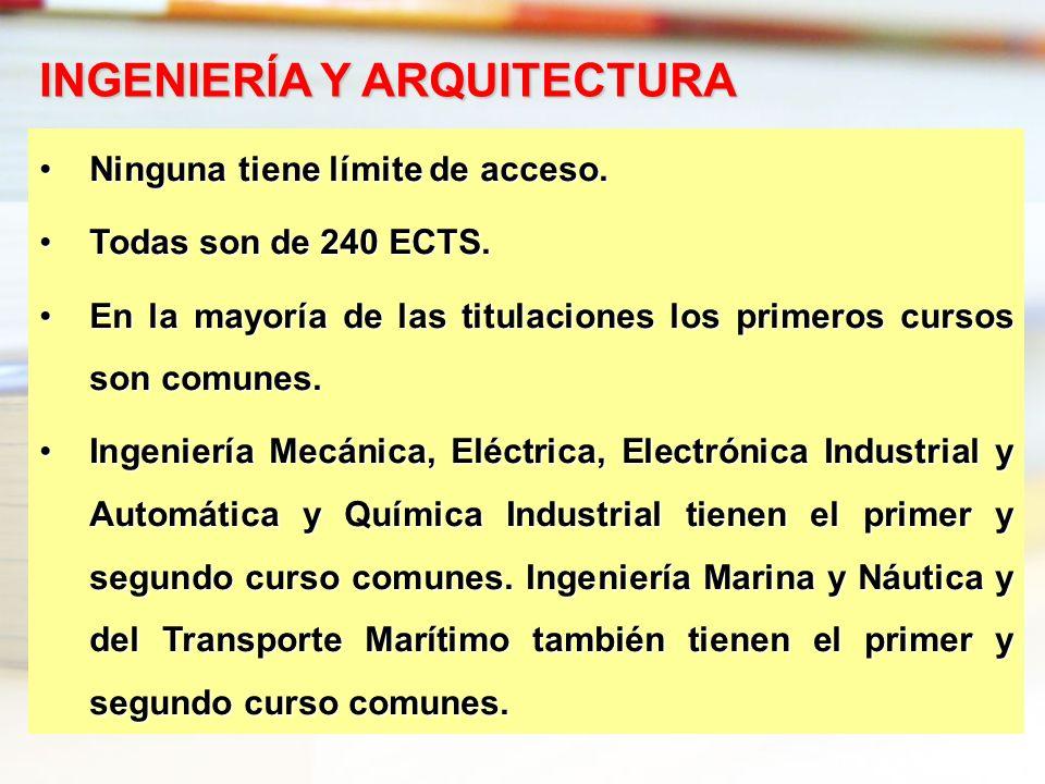 Ninguna tiene límite de acceso.Ninguna tiene límite de acceso. Todas son de 240 ECTS.Todas son de 240 ECTS. En la mayoría de las titulaciones los prim