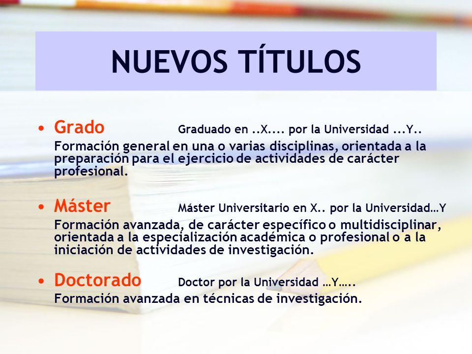 NUEVOS TÍTULOS Grado Graduado en..X.... por la Universidad...Y.. Formación general en una o varias disciplinas, orientada a la preparación para el eje