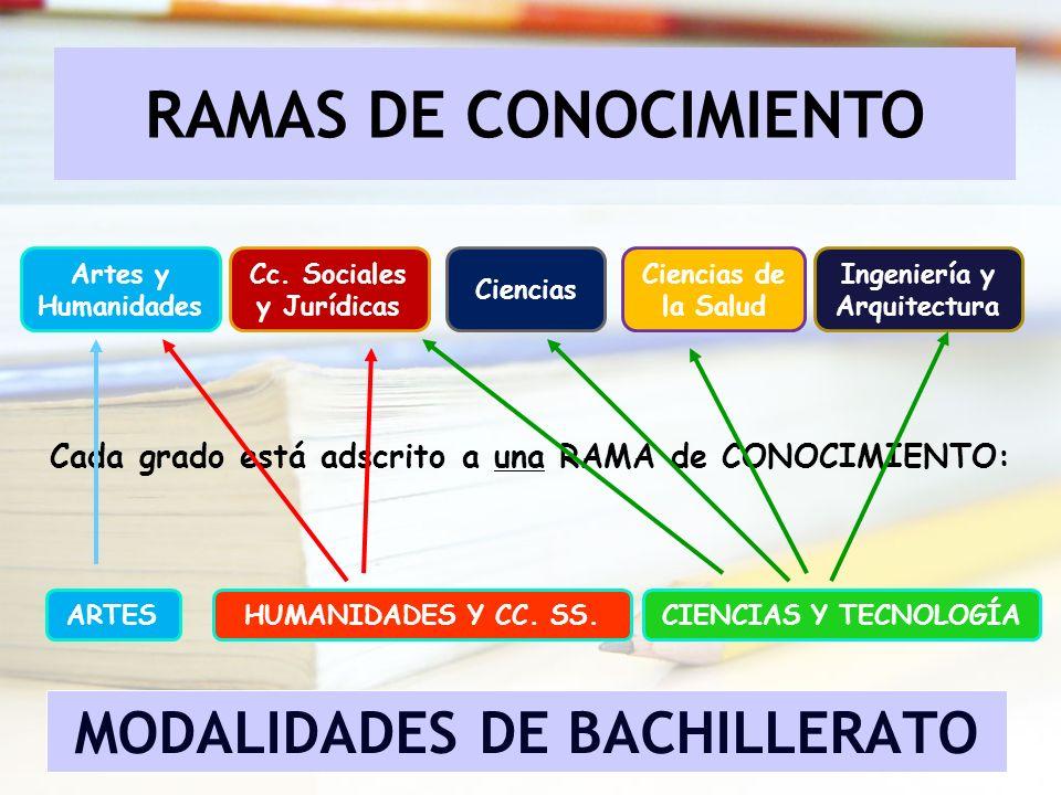 RAMAS DE CONOCIMIENTO Cada grado está adscrito a una RAMA de CONOCIMIENTO: Artes y Humanidades Ciencias Cc. Sociales y Jurídicas Ciencias de la Salud