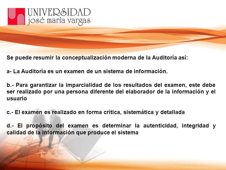 Se puede resumir la conceptualización moderna de la Auditoría así: a La Auditoría es un examen de un sistema de información. b. Para garantizar la imp