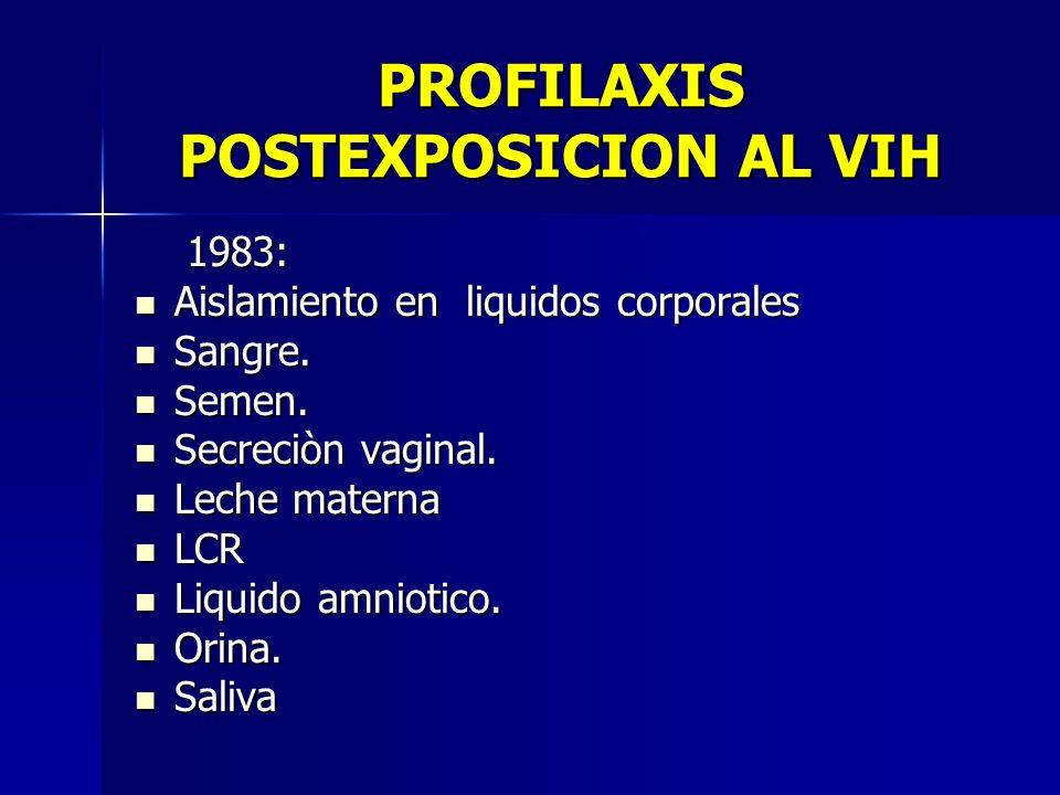 PROFILAXIS POSTEXPOSICION AL VIH 1983: 1983: Aislamiento en liquidos corporales Aislamiento en liquidos corporales Sangre. Sangre. Semen. Semen. Secre