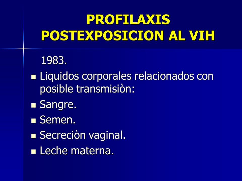 PROFILAXIS POSTEXPOSICION AL VIH 1983. 1983. Liquidos corporales relacionados con posible transmisiòn: Liquidos corporales relacionados con posible tr