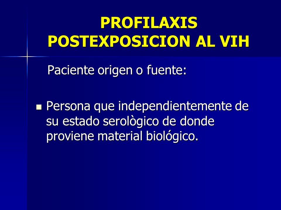 PROFILAXIS POSTEXPOSICION AL VIH Paciente origen o fuente: Paciente origen o fuente: Persona que independientemente de su estado serològico de donde p