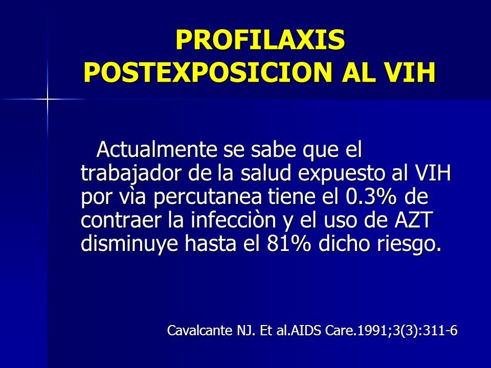 PROFILAXIS POSTEXPOSICION AL VIH Actualmente se sabe que el trabajador de la salud expuesto al VIH por vìa percutanea tiene el 0.3% de contraer la inf
