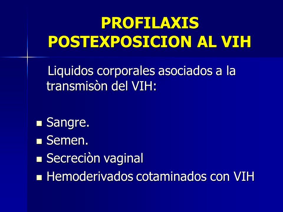 PROFILAXIS POSTEXPOSICION AL VIH Liquidos corporales asociados a la transmisòn del VIH: Liquidos corporales asociados a la transmisòn del VIH: Sangre.