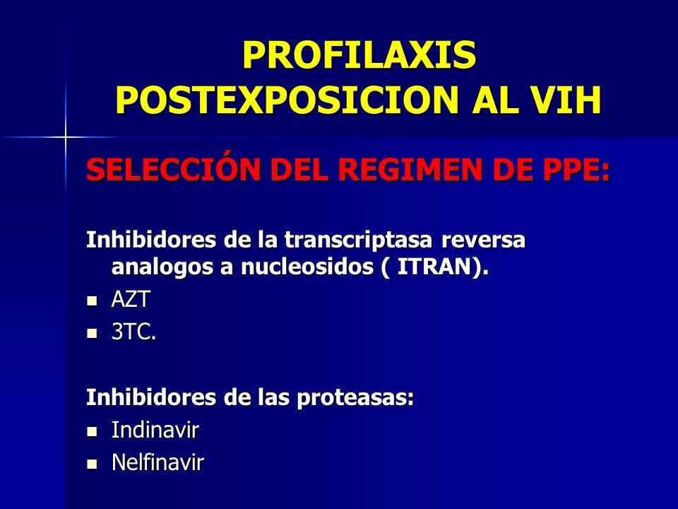 PROFILAXIS POSTEXPOSICION AL VIH SELECCIÓN DEL REGIMEN DE PPE: Inhibidores de la transcriptasa reversa analogos a nucleosidos ( ITRAN). AZT AZT 3TC. 3