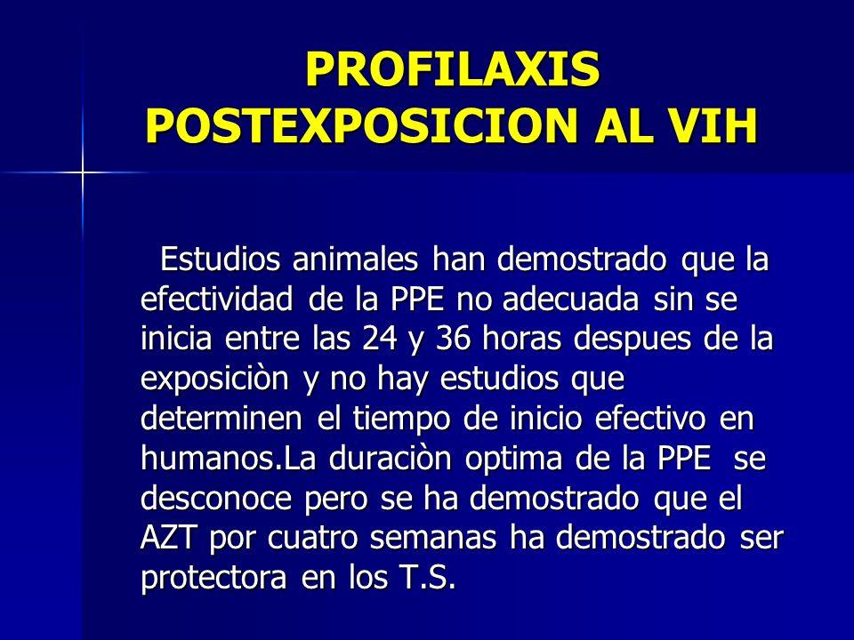 PROFILAXIS POSTEXPOSICION AL VIH Estudios animales han demostrado que la efectividad de la PPE no adecuada sin se inicia entre las 24 y 36 horas despu