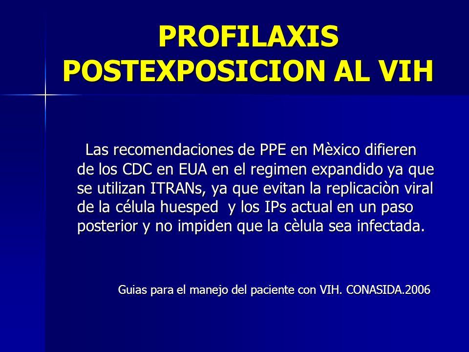 PROFILAXIS POSTEXPOSICION AL VIH Las recomendaciones de PPE en Mèxico difieren de los CDC en EUA en el regimen expandido ya que se utilizan ITRANs, ya