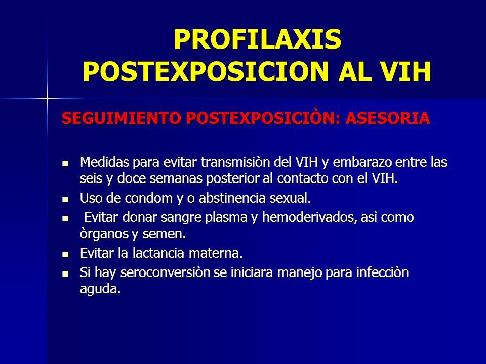 PROFILAXIS POSTEXPOSICION AL VIH SEGUIMIENTO POSTEXPOSICIÒN: ASESORIA Medidas para evitar transmisiòn del VIH y embarazo entre las seis y doce semanas