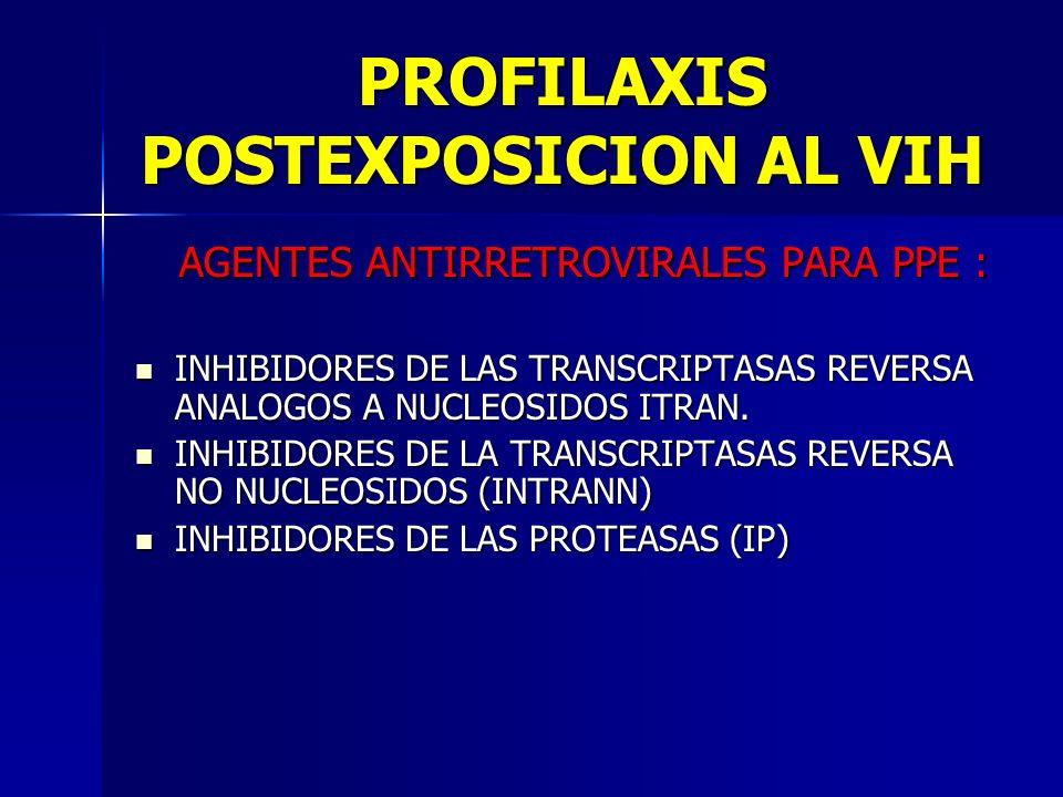 PROFILAXIS POSTEXPOSICION AL VIH AGENTES ANTIRRETROVIRALES PARA PPE : AGENTES ANTIRRETROVIRALES PARA PPE : INHIBIDORES DE LAS TRANSCRIPTASAS REVERSA A