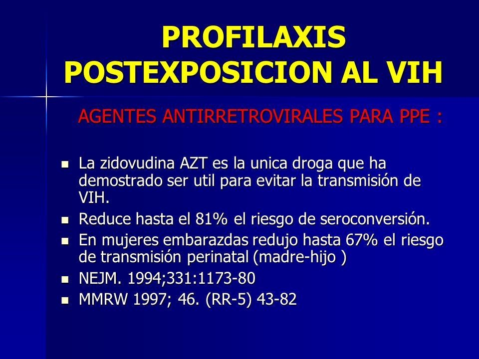 PROFILAXIS POSTEXPOSICION AL VIH AGENTES ANTIRRETROVIRALES PARA PPE : AGENTES ANTIRRETROVIRALES PARA PPE : La zidovudina AZT es la unica droga que ha