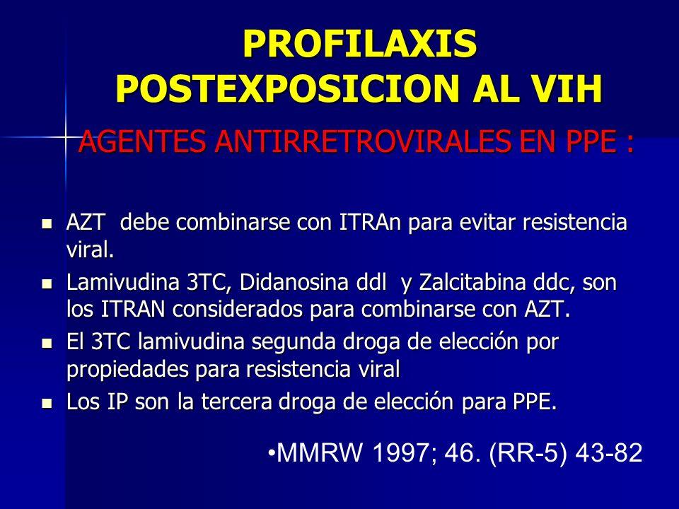 PROFILAXIS POSTEXPOSICION AL VIH AGENTES ANTIRRETROVIRALES EN PPE : AGENTES ANTIRRETROVIRALES EN PPE : AZT debe combinarse con ITRAn para evitar resis