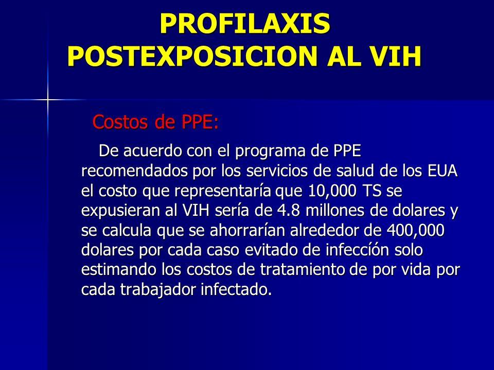 PROFILAXIS POSTEXPOSICION AL VIH Costos de PPE: Costos de PPE: De acuerdo con el programa de PPE recomendados por los servicios de salud de los EUA el