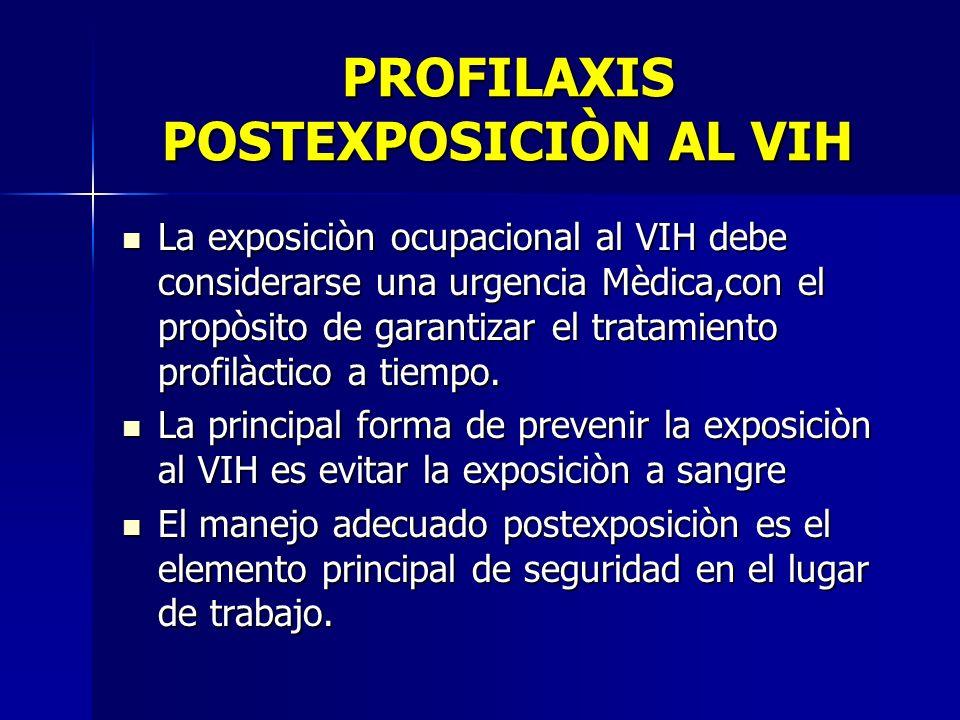 PROFILAXIS POSTEXPOSICIÒN AL VIH La exposiciòn ocupacional al VIH debe considerarse una urgencia Mèdica,con el propòsito de garantizar el tratamiento