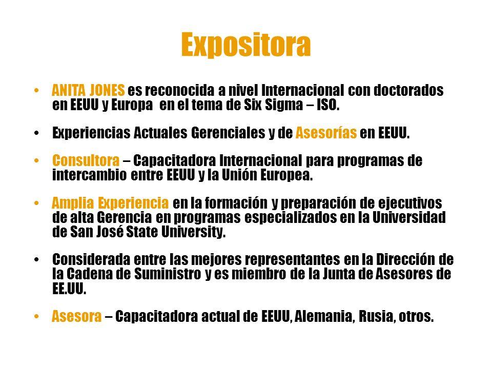 Expositora ANITA JONES es reconocida a nivel Internacional con doctorados en EEUU y Europa en el tema de Six Sigma – ISO. Experiencias Actuales Gerenc