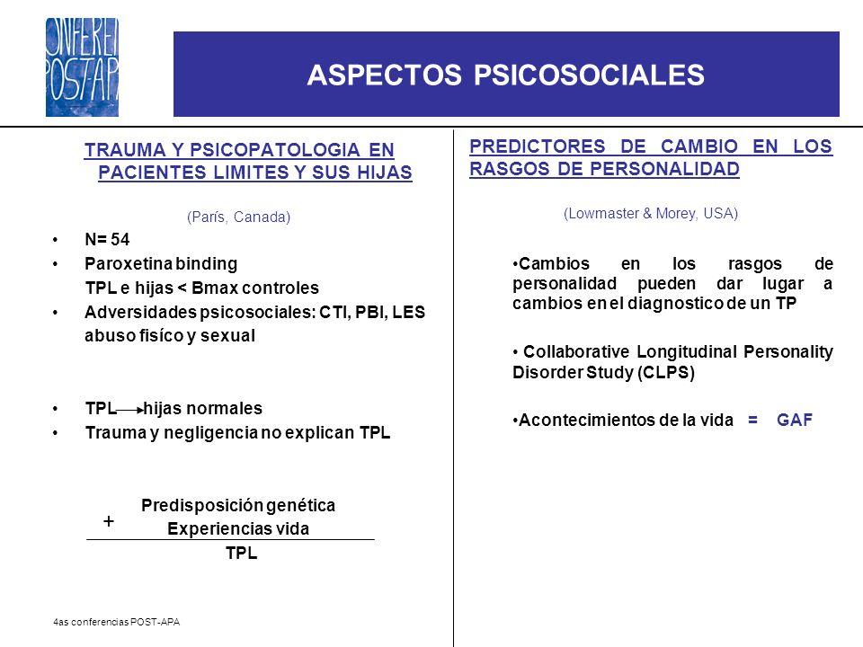 4as conferencias POST-APA ASPECTOS PSICOSOCIALES TRAUMA Y PSICOPATOLOGIA EN PACIENTES LIMITES Y SUS HIJAS (París, Canada) N= 54 Paroxetina binding TPL