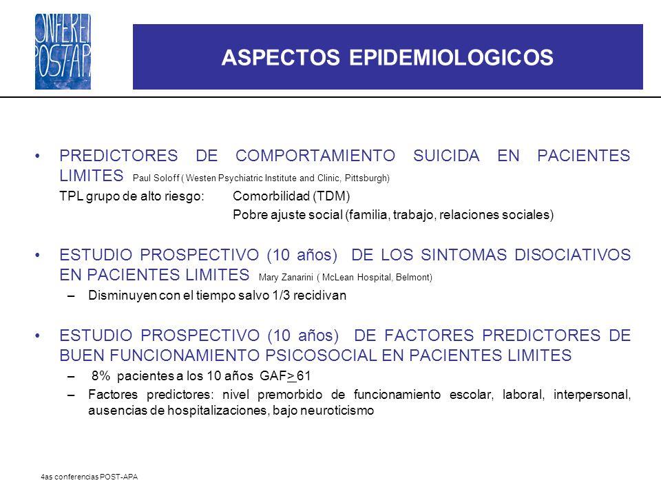 4as conferencias POST-APA ASPECTOS EPIDEMIOLOGICOS PREDICTORES DE COMPORTAMIENTO SUICIDA EN PACIENTES LIMITES Paul Soloff ( Westen Psychiatric Institu