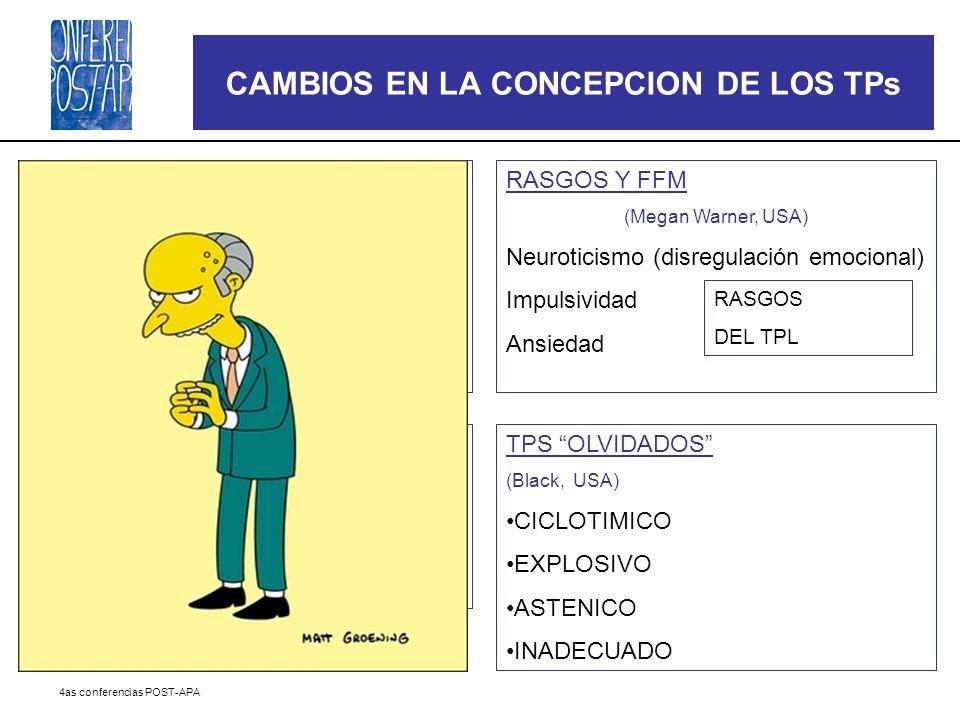 4as conferencias POST-APA CAMBIOS EN LA CONCEPCION DE LOS TPs MODELOS DIMENSIONALES (Costa, USA) FFM > otros modelos dimensionales (TCI, EPQ) NEO-PI-R