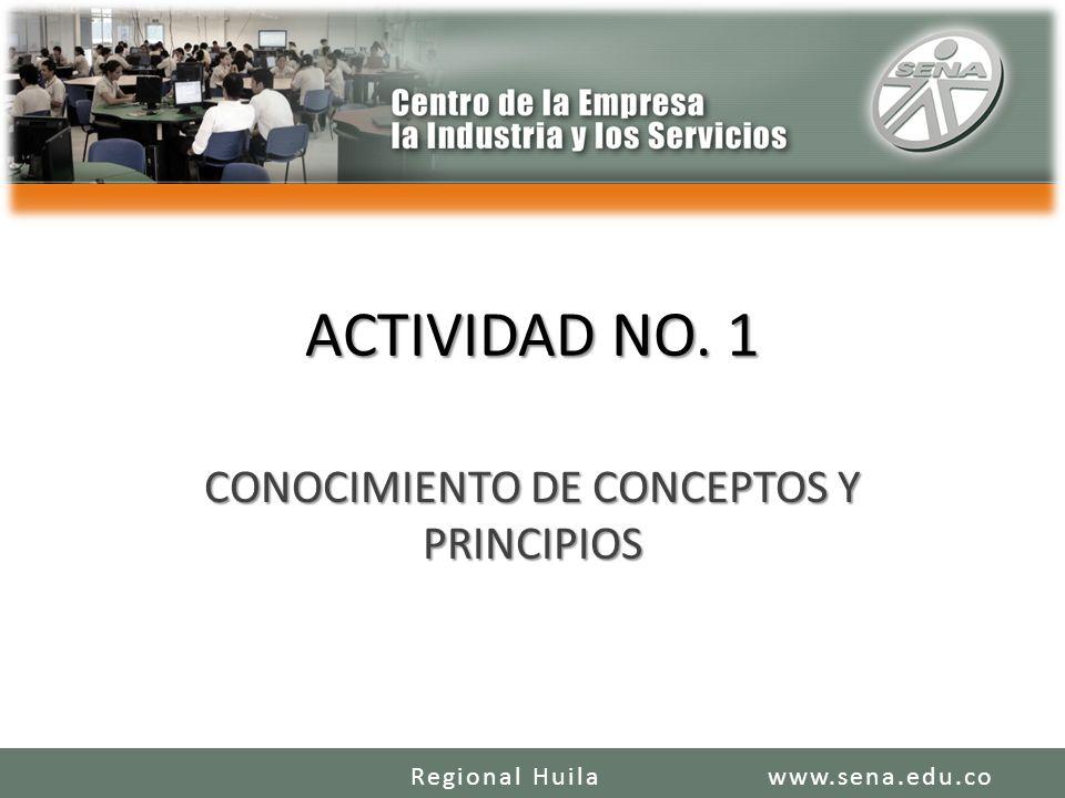 ACTIVIDAD NO. 1 CONOCIMIENTO DE CONCEPTOS Y PRINCIPIOS www.sena.edu.coRegional Huila
